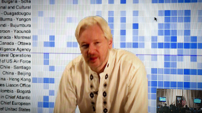 Whistleblowing website WikiLeaks founder Julian Assange speaks during a teleconference between London and Washington on April 8, 2013 in Washington, DC.  (AFP Photo/Mladen Antonov)
