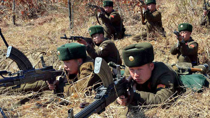 This picture, taken by North Korea's official Korean Central News Agency on March 20, 2013 shows North Korea's Korean People's Army soldiers at an undisclosed location in North Korea. (AFP Photo/KCNA via KNS)