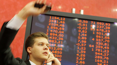 Trader at the Moscow Interbank Currency Exchange (MICEX). (RIA Novosti/Alexey Kudenko)
