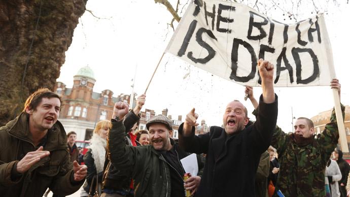 Arrests at Thatcher death celebrations as shop windows smashed, police injured