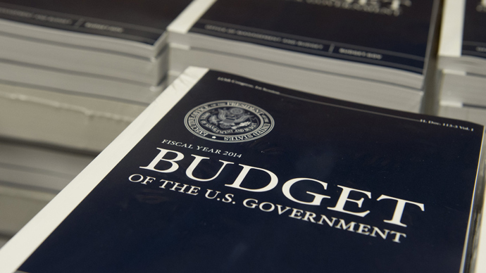 Copies of US President Barack Obama's Fiscal Year 2014 Budget proposal wait to be distributed to Senate staff on Capitol Hill in Washington, DC, on April 10, 2013 (AFP Photo / Saul Loeb)