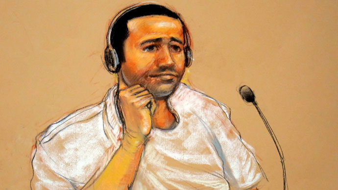 courtroom sketch by Janet Hamlin, shows terror suspect Abd al-Rahim al-Nashiri, 46, who was arraigned at Wednesday's hearing on charges related to the 2000 bombing of the USS Cole in Yemen.(AFP Photo / Janet Hamlin)