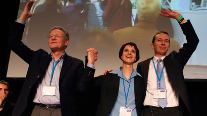 "New elected party leaders of Germany's anti-euro party ""Alternative fuer Deutschland"" (Alternative for Germany) Konrad Adam (L-R), Frauke Petry and Bernd Lucke celebrate after their election during the first party congress in Berlin April 14, 2013 (Reuters / Fabrizio Bensch)"