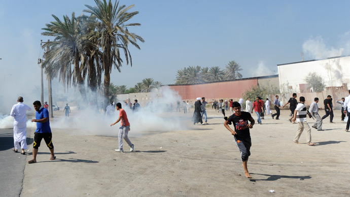 Teargas used to subdue schoolboys protesting Bahraini arrest