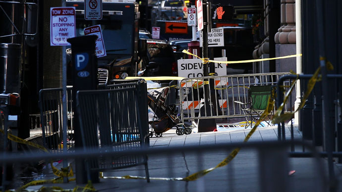 A street is closed near the scene of twin bombings at the Boston Marathon on April 17, 2013 in Boston.(AFP Photo / Spencer Platt)