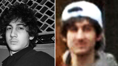 A photo of Dzhokhar Tsarnaev from his VKontakte page (left) and an FBI-released photo of the Boston bombing suspect (right).