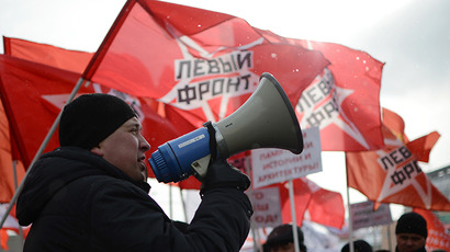 This picture shows a Left Front activist speaking during a march for the rights of Muscovites. (RIA Novosti / Vladimir Astapkovich)