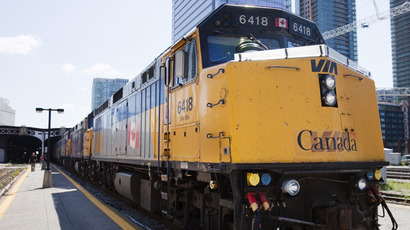 A Via Rail train waits to leave the station at Union Station in Toronto. (Reuters / Mark Blinch)