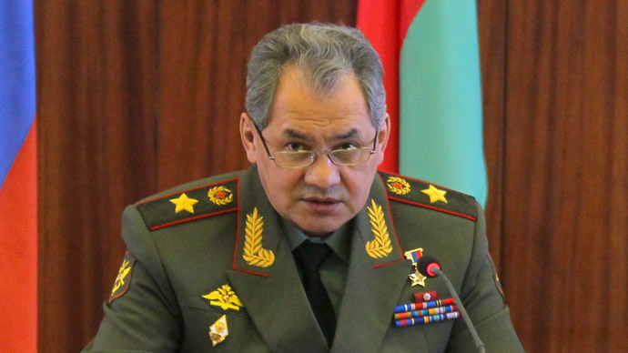 Russian Defense Minister Sergei Shoigu at a meeting of the Russian and Belarusian defense ministries, in Minsk. (RIA Novosti)