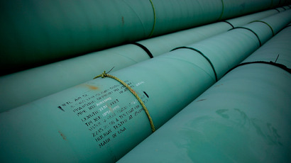Pipe is stacked at the southern site of the Keystone XL pipeline (Tom Pennington / Getty Images / AFP)