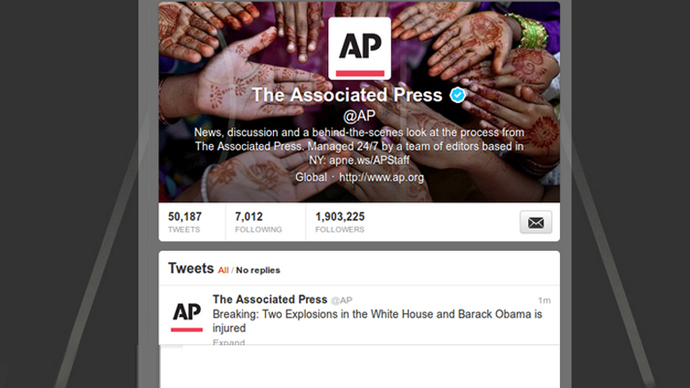 A screen shot of @AP twitter.
