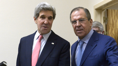 Russian Foreign Minister Sergei Lavrov, right, and the U.S. Secretary of State John Kerry during a meeting of the Russia-NATO Council in Brussels on April 23, 2013. (RIA Novosti / Eduard Pesov)