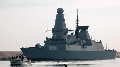 The British destroyer HMS Diamond sails through the Suez Canal (AFP Photo)