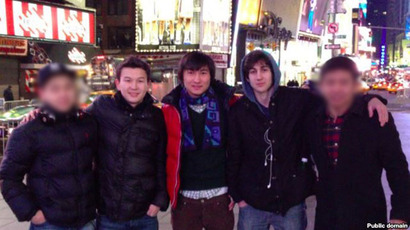 Azamat Tazhayakov and Dias Kadyrbayev with Boston Marathon bombing suspect Dzhokhar Tsarnaev (all three in the center) in Times Square in New York (photo from VKontakte page of Dias Kadyrbayev)