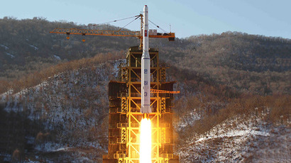This picture taken by North Korea's official Korean Central News Agency (KCNA) on December 12, 2012 shows North Korean rocket Unha-3, carrying the satellite Kwangmyongsong-3, lifting off from the launching pad in Cholsan county, North Pyongan province in North Korea. (AFP Photo / KCNA)