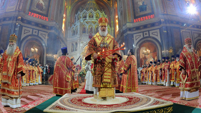 Patriarch of Moscow and All Russia Kirill during the Easter service in Christ the Savior Cathedral. (RIA Novosti/Sergey Pyatakov)
