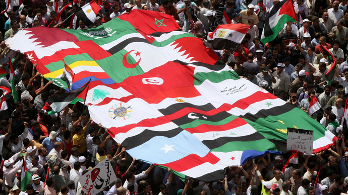 Egyptian demonstrators hold the flags of Arab nations at Cairo's Tahrir Square on May 13, 2011.(AFP Photo / Khaled Desouki)