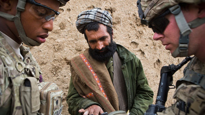 A local Afghan man has his fingerprints scanned by U.S. Army soldiers with Charlie Company.(Reuters / Andrew Burton)
