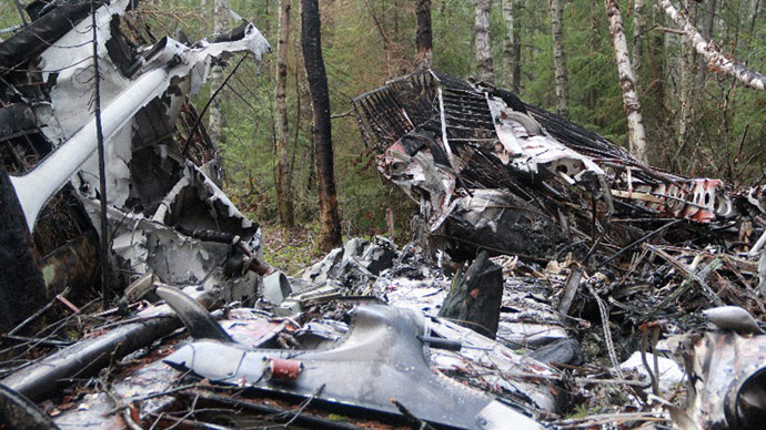 Wreckages of the An-2 plane, which disappeared in the summer of 2012, found in the vicinity of the Katasminskoye swamp, 8km away from Serov, Sverdlovsk Region. Fragments of 11 bodies were found at the crash site. (RIA Novosti/Dmitry Skryabin)