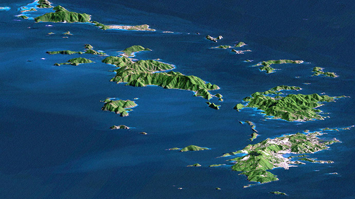 In this NASA image released 09 July, 2003, St. Thomas, St. John, Tortola, and Virgin Gorda are the four main islands (front to back) of this east-looking view of the U.S. Virgin Islands and British Virgin Islands, along the northeast perimeter of the Caribbean Sea. (AFP/NASA)