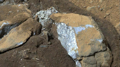 "This handout provided March 18, 2013 by NASA shows an image captured by the Mast Camera (Mastcam) on NASA's Mars rover Curiosity revealing interesting internal color in this rock called ""Sutton_Inlier,"" which was broken by Curiosity when it drove over it (AFP Photo)"