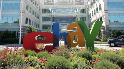A sign is posted in front of eBay headquarters in San Jose, California. (Justin Sullivan/Getty Images/AFP)