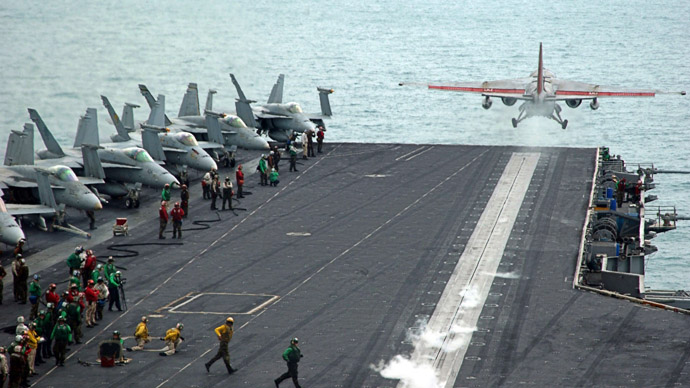"An S-3B Viking, assigned to the ""Scouts"" of Sea Control Squadron Two Four (VS-24), is launched from the bow of the Nimitz-class aircraft carrier USS Theodore Roosevelt (CVN 71) in the Persian Gulf (Reuters/Nathan Laird/U.S. Navy photo)"