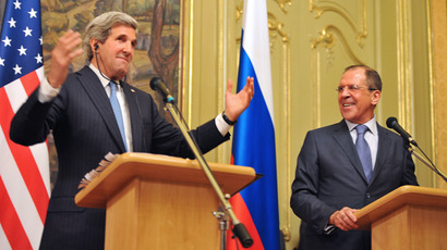 US Secretary of State John Kerry (L) and his Russian counterpart Sergei Lavrov take part in a joint press conference following their meeting in Moscow on May 7, 2013 (AFP Photo / Mladen Antonov)