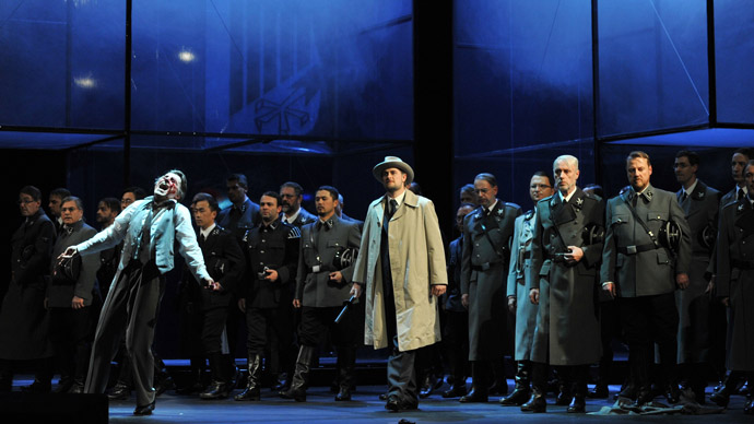 """his undated recent handout picture released by the Deutsche Oper am Rhein opera house shows actors playing a scene of the opera """"Tannhaeuser"""" by German composer Richard Wagner at the Deutsche Oper am Rhen in Duesseldorf, western Germany. (AFP Photo/Deutsche Oper am Rhein)"""