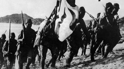 Picture dated 1938 of Japanese troops, during the Second Japan-China war. The 2nd Japan-China war started in 1937 with the Marco Polo Bridge Incident, near Beijin, pretext for the Japanese to launch a full-scale invasion of China, using the conquered Manchuria as a launching base for their troops. The war ended with the surrender of Japan in 1945.(AFP)