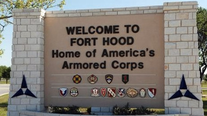 The main gate at the U.S. Army post at Fort Hood, Texas (Reuters)