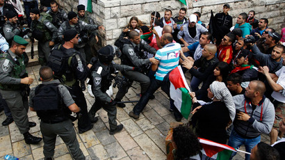 Palestinian protestors clash with Israeli security forces during clashes near Damascus Gate at Jerusalem's old city May 15, 2013.(Reuters / Ammar Awad)