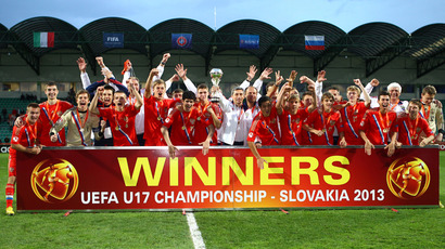 Russia's team celebrates after the UEFA European Under 17 Championship final match Italy vs Russia on May 17, 2013 in Zilina. Russia won 5-4.  (RIA Novosti / Mikhail Shapaev)