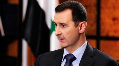Syrian President Bashar al-Assad speaking during an interview with Argentine newspaper Clarin and Argentine state news agency Telam, in Damascus. Assad said he welcomed a US-Russian peace initiative to end Syria's civil war but had no plans to resign.(AFP Photo / SANA)