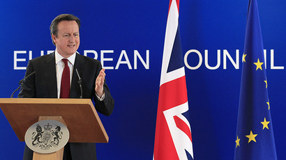Britain's Prime Minister David Cameron holds a news conference at the end of a European Union leaders summit in Brussels. (Reuters / Yves Herman)