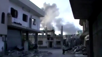 Qusair town near Homs. (An image grab taken from a video)