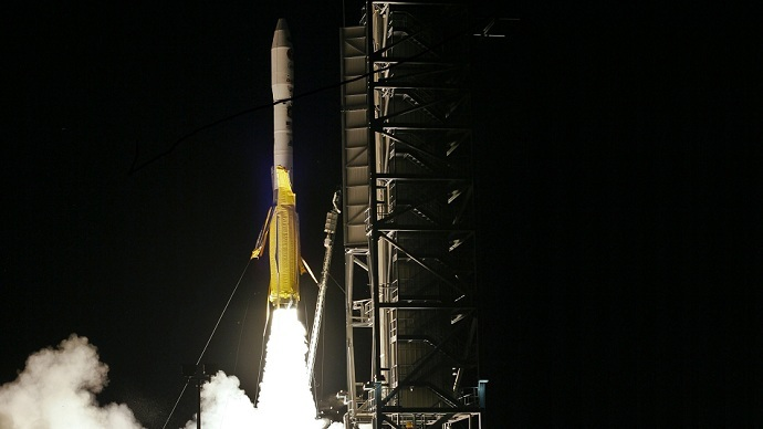 A Minotaur 1 rocket, carrying the Operationally Responsive Space 1 (ORS 1) satellite, lifts off from Wallop Island, Virginia in this undated handout photograph provided June 30, 2011 (REUTERS/Thom Baur/Orbital Sciences/Handout)