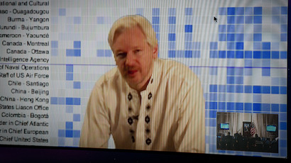 Julian Assange speaks during a teleconference between London and Washington on April 8, 2013 in Washington, DC (AFP Photo / Mladen Antonov)