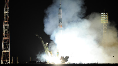 Russia's Soyuz TMA-09M spacecraft blasts off from the Russian leased Kazakh Baikonur cosmodrome early on May 29, 2013 (AFP Photo / Kirill Kudryavtsev)