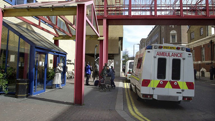 The front entrance to St. Mary's Hospital, Paddington, London. (AFP Photo / Martin Hathow)