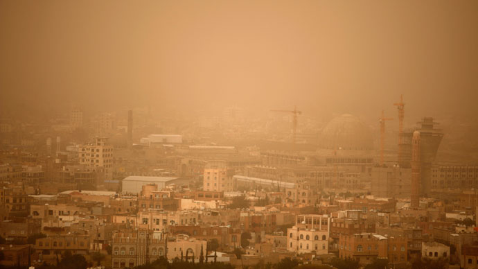 A view shows central Sanaa covered in dust.(Reuters / Khaled Abdullah)