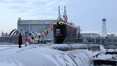 The Yury Dolgoruky nuclear-powered submarine seen during the ceremony of St.Andrew's flag-hoisting in the Sevmash shipyards, Severodvinsk.(RIA Novosti / Alexander Petrov)