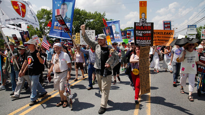 Protesters march to call for the release of jailed U.S. Army Private Bradley Manning, a central figure in the Wikileaks case, outside the gates at Fort Meade, Maryland, June 1, 2013 (Reuters / Jonathan Ernst)