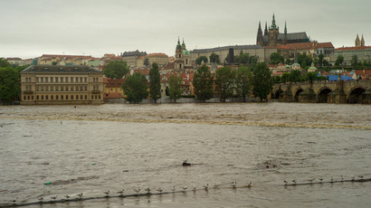 The Vltava river is flooded on June 2, 2013 in Prague (AFP Photo / Michael Cizek)