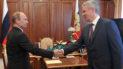 Russian President Vladimir Putin and Moscow Mayor Sergei Sobyanin during their meeting in the Kremlin on June 5, 2013. (RIA Novosti / Aleksey Nikolskyi)