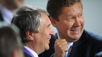 President and CEO of Rosneft Igor Sechin, left, and Gazprom CEO Alexei Miller. (RIA Novosti / Grigoriy Sisoev)