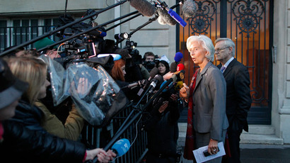 "IMF chief Christine Lagarde speaks to journalists after magistrates gave her a ""supervised witness"" status in an arbitration case in Paris May 24, 2013.(Reuters / Stephane Mahe)"