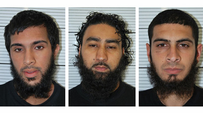 The undated custody photographs of six men (top row L-R) Zohaib Ahmed, Omar Khan, Mohammed Saud.(AFP Photo / West Midlsnds Police)