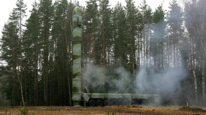 The high-speed lift of the Topol missile launching. (RIA Novosti / Vladimir Rodionov)