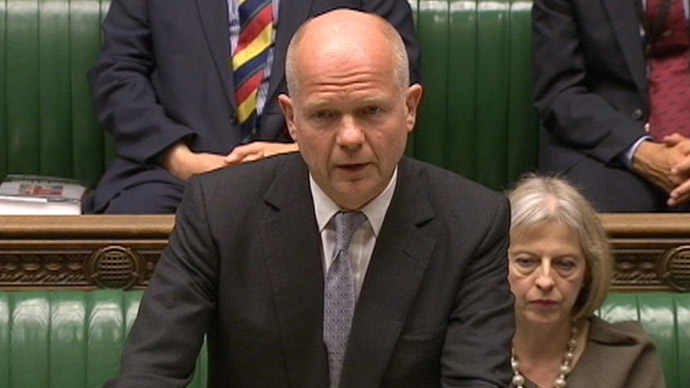 Britain's Foreign Secretary William Hague is seen making a statement to the House of Commons in this still image taken from video, in central London June 10, 2013. (Reuters)